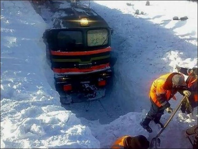 Railway and Russian winter