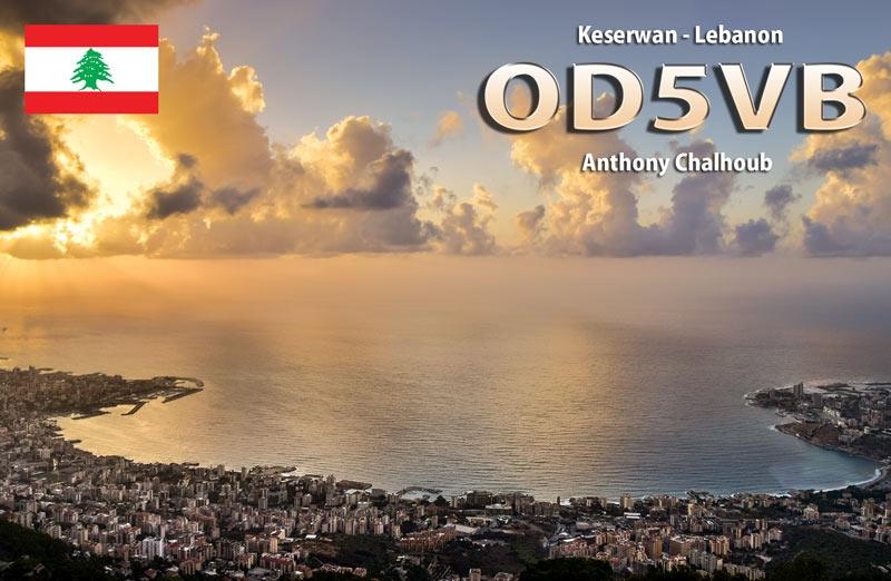 OD5VB. Anthony Chalhoub. QSL. Keserwan Lebanon.