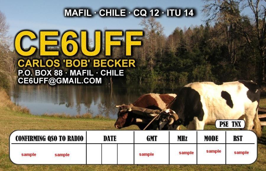 CE6UFF Carlos Roberto Becker Dippel, Mafil, Chile. QSL Card.
