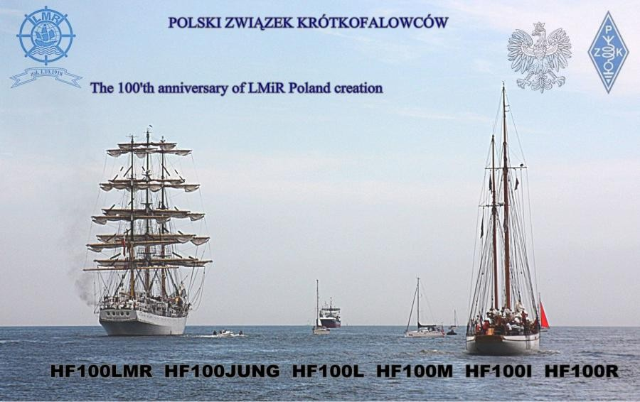 100 Years of the Polish Maritime and River League. Amateur Radio Award. HF100JUNG HF100LMR