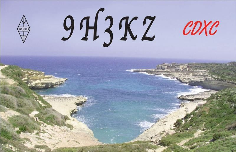 9H3KZ Rob McTait, Paola, Malta. QSL Card.