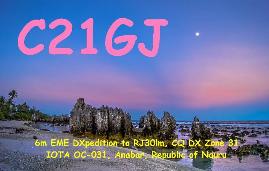 C21GJ Lance Collister, Anabar, Nauru. QSL Card.
