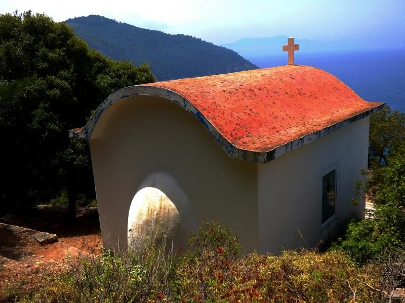SV8/PA0PCH Chapel overlooking the sea. Agii Anargyri, Alonissos island, Sporades, Greece.