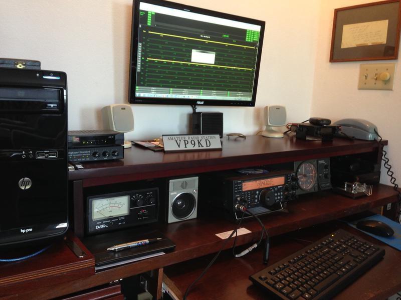 VP9KD Walter Carlington, Southampton, Bermuda. Radio Room Shack.