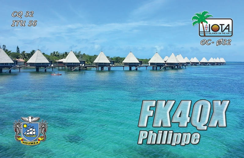 FK4QX. Philippe Bailly QSL. Noumea, New Caledonia. Front side