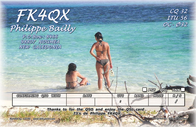 FK4QX. Philippe Bailly QSL. Noumea, New Caledonia. Back side