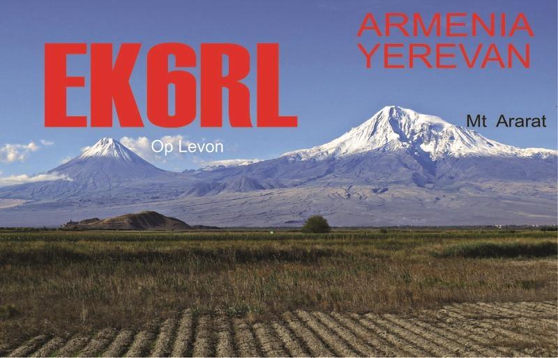 EK6RL. Levon Harutyunyan. QSL. Yerevan, Armenia.