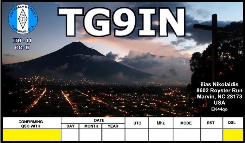 TG9IN Ilias Nikolaidis, Guatemala. QSL Card.