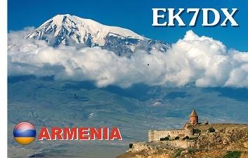 EK7DX Karen Karapetyan, Yerevan, Armenia. QSL Card.