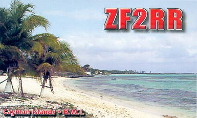 ZF2RR Axel Bruderer, Cayman Islands. QSL Card.
