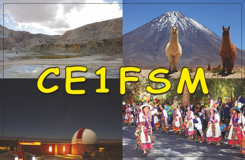 CE1FSM. Miguel Fuentas Silva QSL. Calama, Chile.