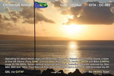 VK9XG Christmas Island QSL Back