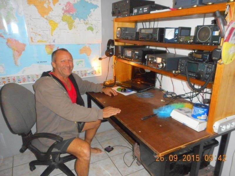 FK4RH Gilles Bourrelly, Bourail, New Caledonia. Radio Room Shack.