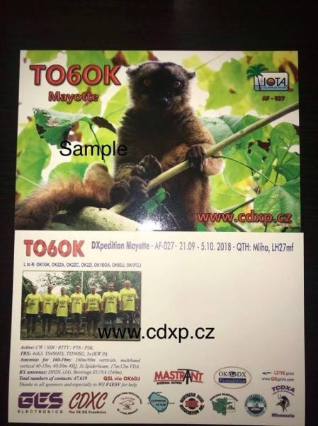 TO6OK Mayotte Islands QSL Card