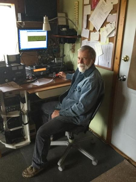AL7JX Glen Fuller, Anchor Point, Alaska. Radio Room Shack.