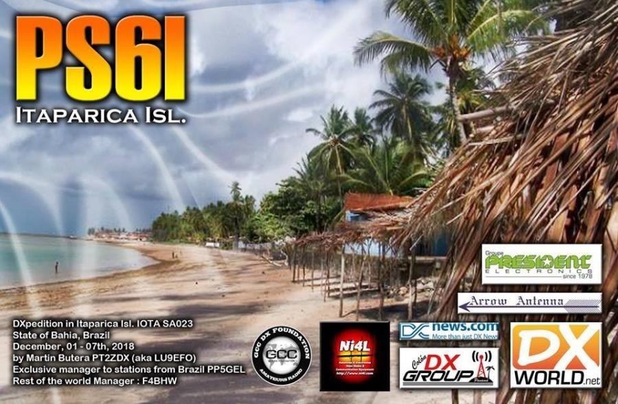 PS6I ITaparica Island. QSL Card