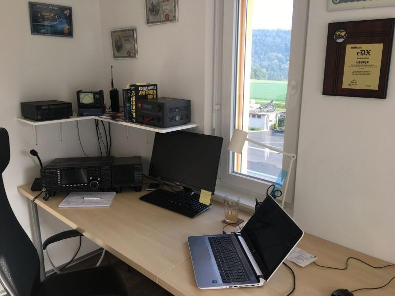 HB90FZF Matthias Pobig, Weiach, Switzerland. Radio Room Shack