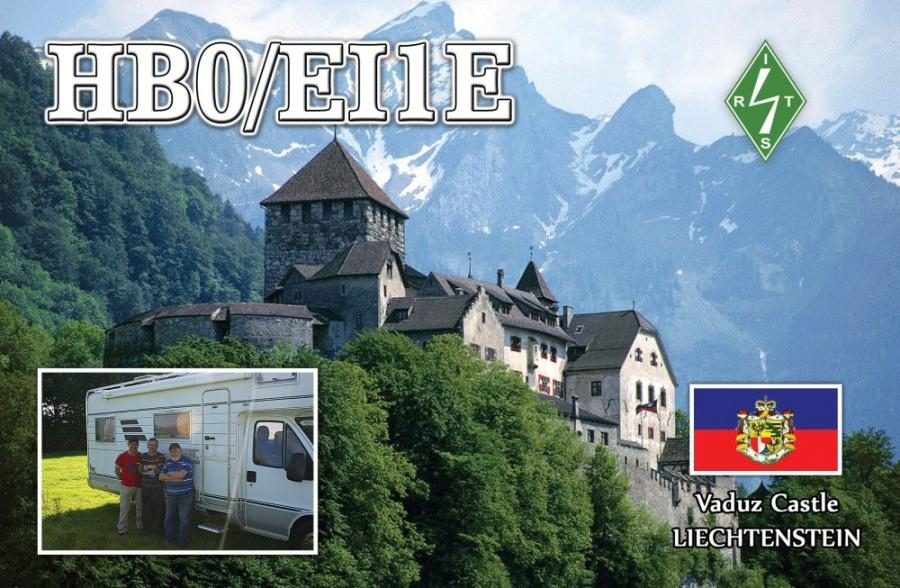 HB0/EI1E QSL. Avondhu Radio Club. Liechtenstein. Vaduz Castle.