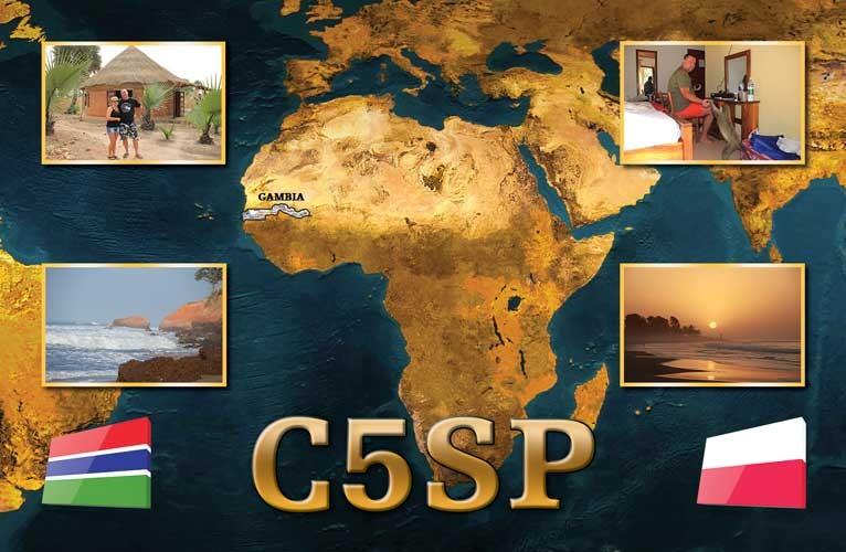 C5SP Przemyslaw Stalislawski, Sanyang, Gambia. QSL Card.