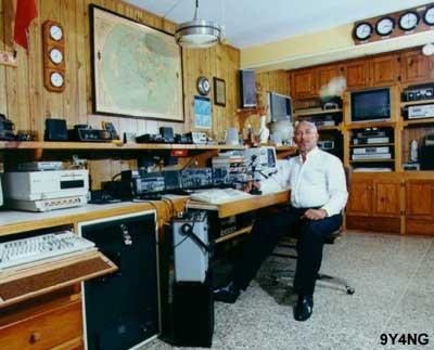 9Y4NG Arnold Griffith, San Fernando, Trinidad Island, Trinidad and Tobago. Radio Room Shack.