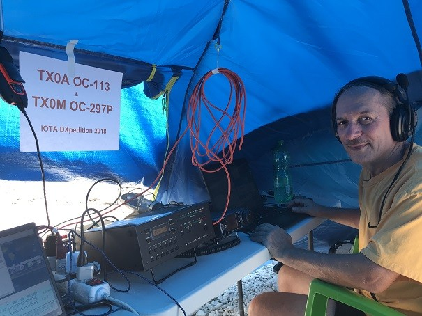 TX0A Maria Est Atoll VE3LYC Cezar after a night on the air.