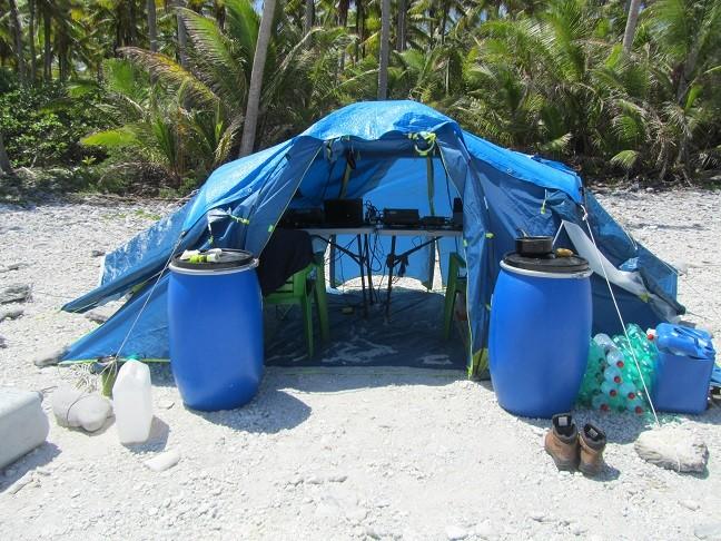 TX0A Maria Est Atoll Operations tent at TX0A.