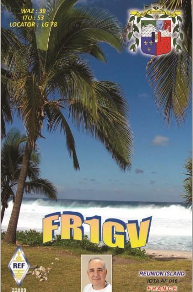 FR1GV Alain Pierre, Reunion Island QSL Card