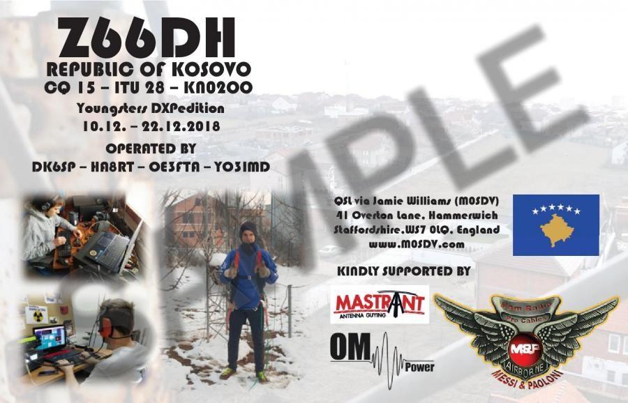 Z66DH Kosovo DX Pedition QSL Back