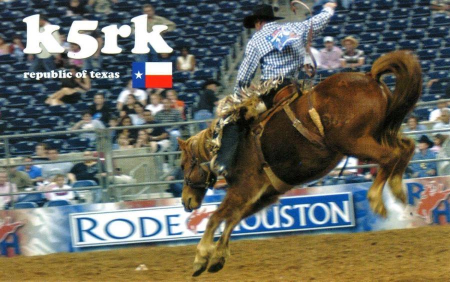 K5RK QSL. Larry J. Burke, Alvin, Texas, USA.*