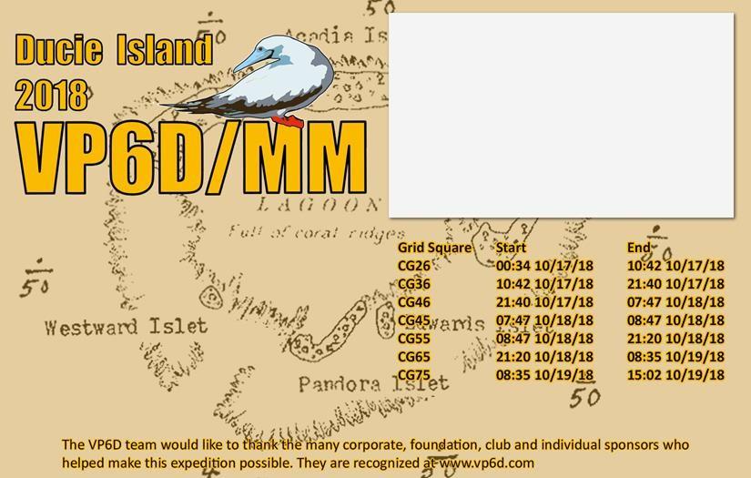 VP6D/MM Ducie Island QSL Back