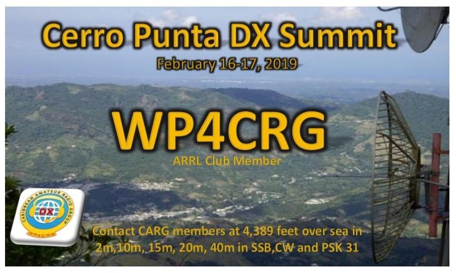 WP4CRG Cerro Punta DX Summit, Jayauya, Puerto Rico. Banner.