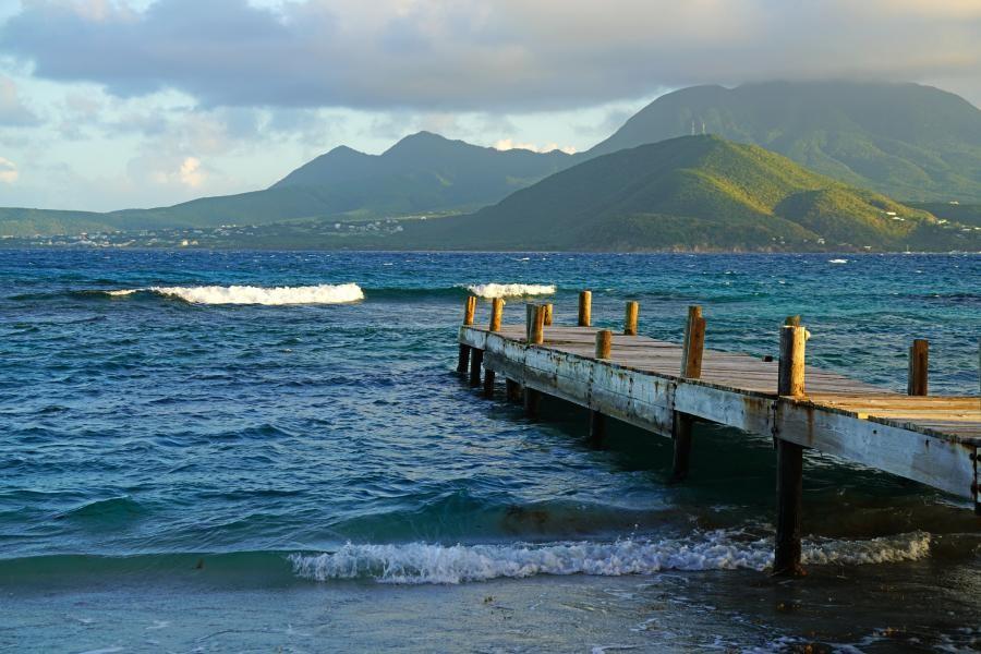 V4/W3UL Nevis island hills from Turtle Beach, Saint Kitts Island.