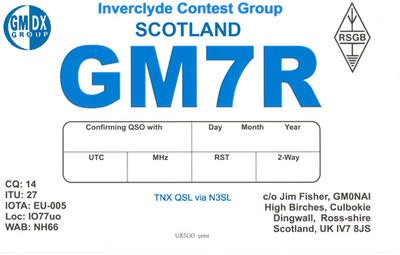 GM7R Inverclyde Contest Group, Dingwall, Ross shire, Scotland