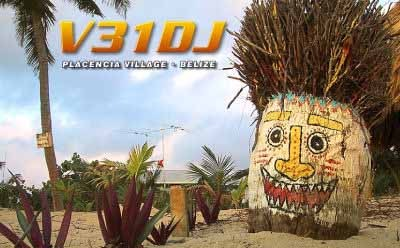 V31DJ Walton Stinson, Placencia, Stann Creek, Belize. QSL Card