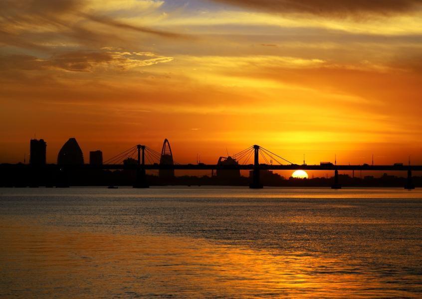 ST2/EK6DO Sunset, Blue Nile river, Downtown Khartoum, Corinthia hotel, GNPOC Tower, Sudan.