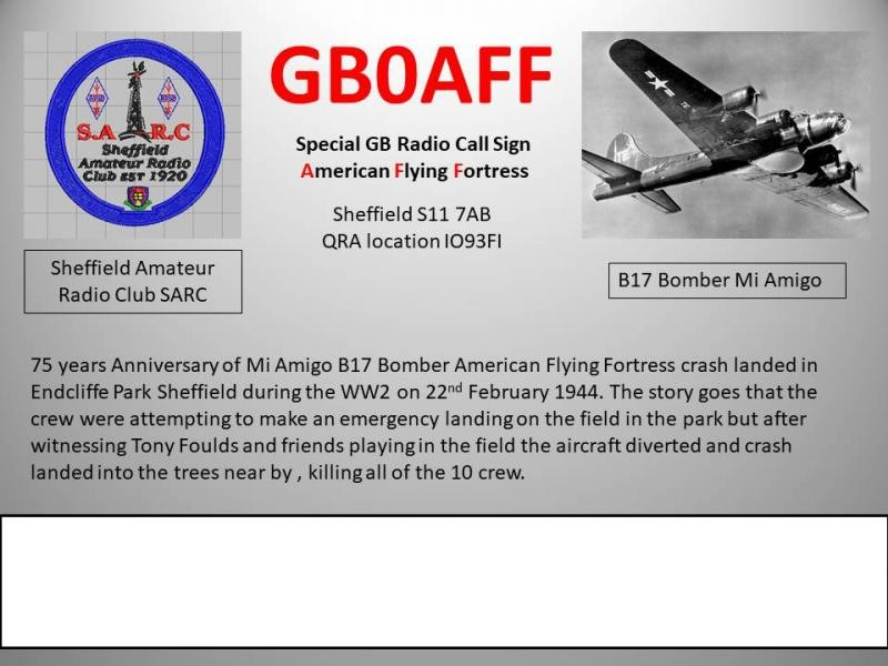 GB0AFF Sheffield, England B17 Bomber