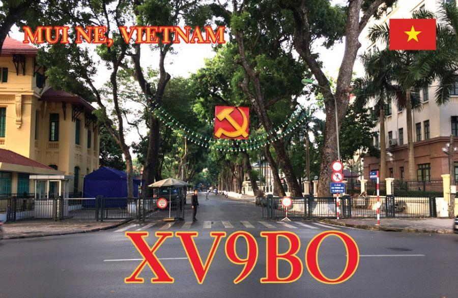 XV9BO Thomas Hubert, Mui Ne, Vietnam QSL Card Front