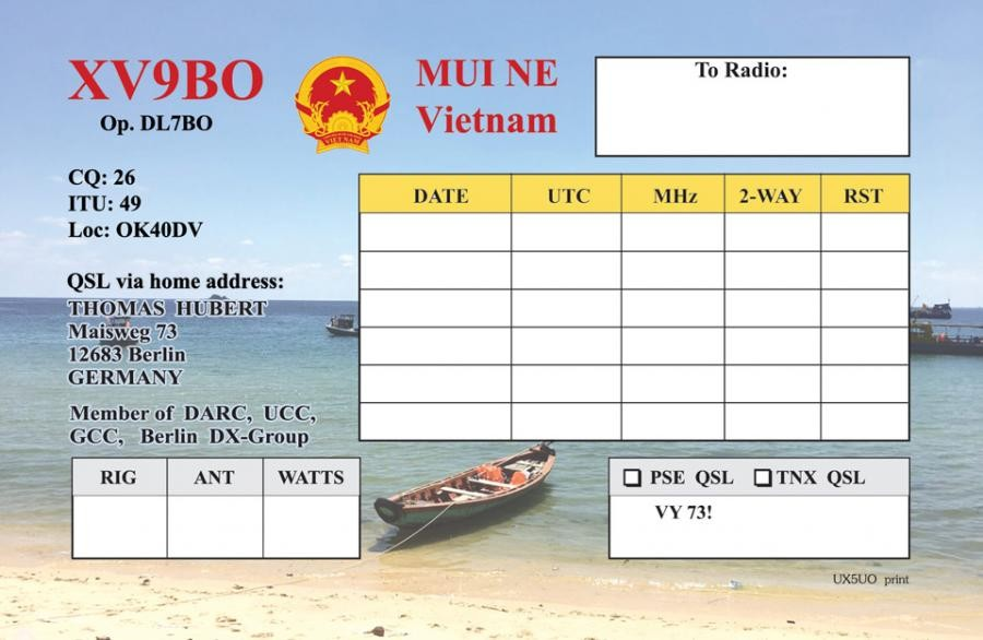 XV9BO Thomas Hubert, Mui Ne, Vietnam QSL Card