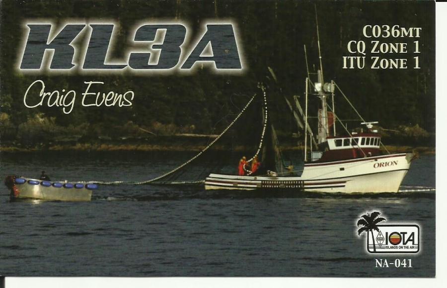 KL3A QSL IOTA NA - 041 Alaska Craig Evens