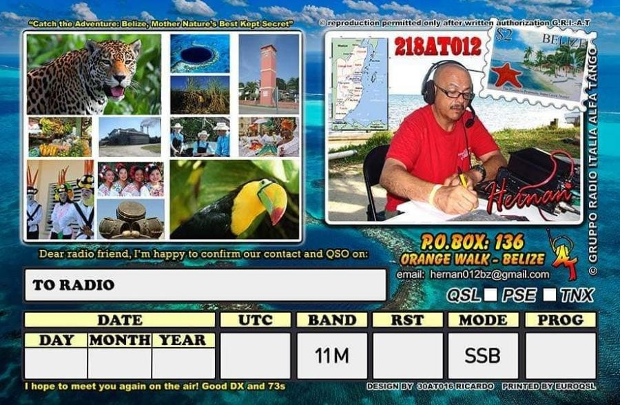 218AT012 Orange Walk, Belize QSL Card