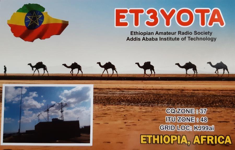 ET3YOTA Ethiopia QSL Card