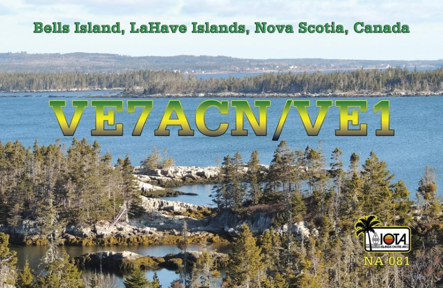 VE7ACN/VE1 Bell Island, LaHave Islands, Canada. QSL Card.
