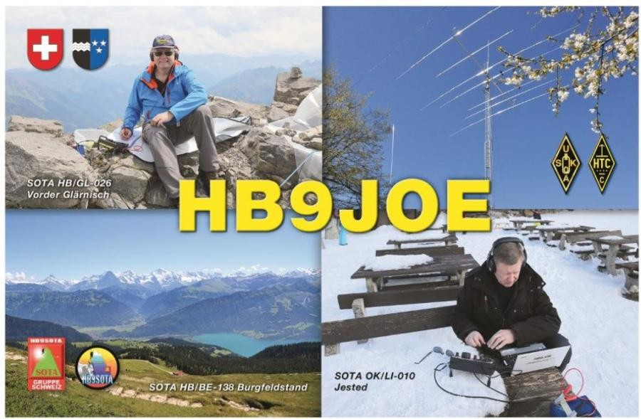 HB9JOE Andreas Thiemann, Muri, Switzerland QSL Card