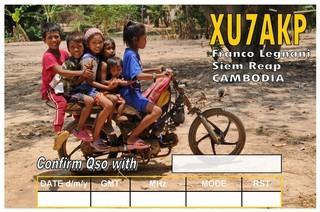 XU7AKP Cambodia QSL Card 1