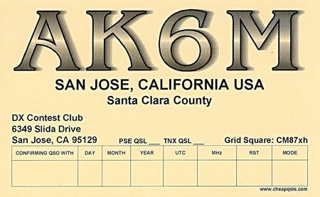 AK6M DX Contest Club, San Jose, California, USA