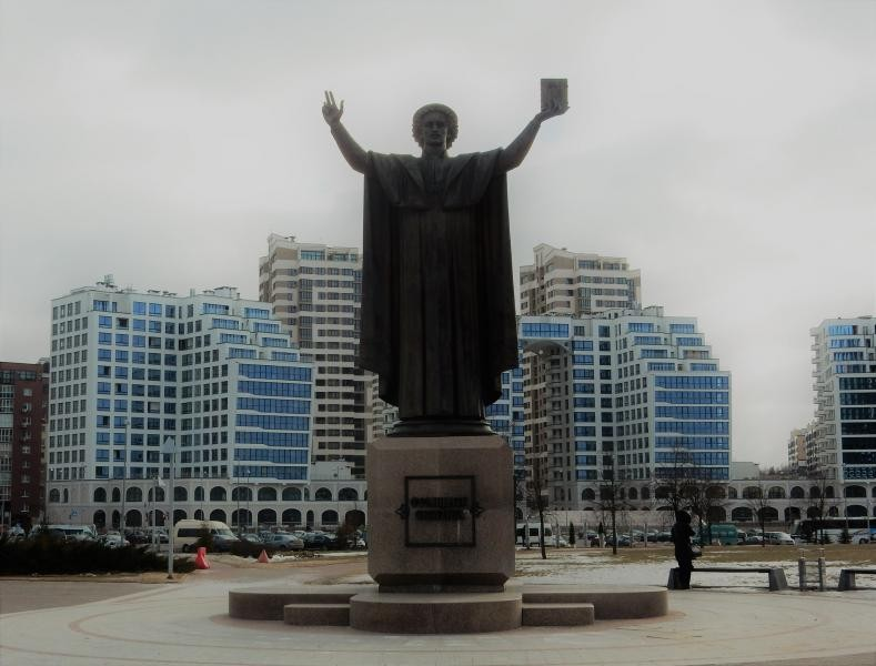 EW5Z Statue of Francisk Storyna outside National Library, Minsk, Belarus.