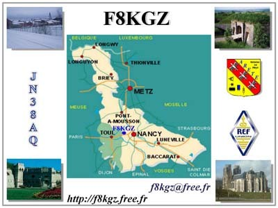F8KGZ Radio Club, Gondreville, France QSL Card