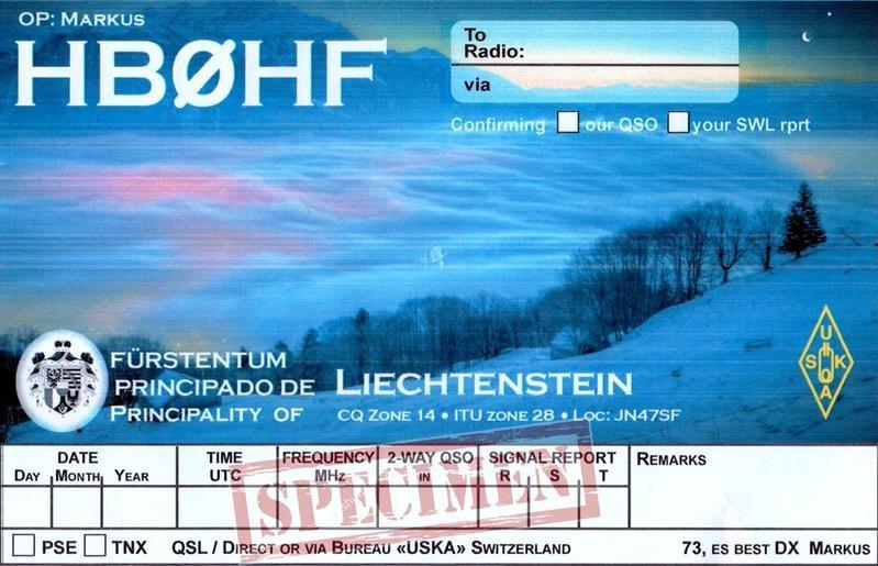 HB0HF Markus Marxer, Eschen, Liechtenstein QSL Card