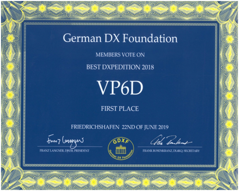 VP6D Ducie Island DX Pedition of the Year 2018 German DX Foundation