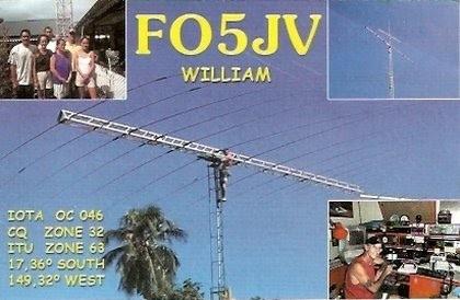 FO5JV William Counen, Papeete, Tahiti Island, French Polynesia QSL Card